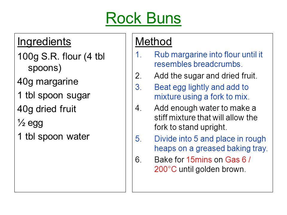 Rock Buns Ingredients 100g S.R. flour (4 tbl spoons) 40g margarine 1 tbl spoon sugar 40g dried fruit ½ egg 1 tbl spoon water Method 1.Rub margarine in