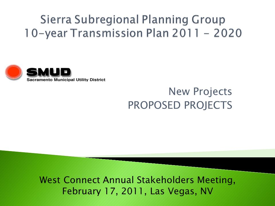 New Projects PROPOSED PROJECTS West Connect Annual Stakeholders Meeting, February 17, 2011, Las Vegas, NV
