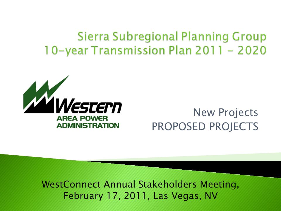 New Projects PROPOSED PROJECTS WestConnect Annual Stakeholders Meeting, February 17, 2011, Las Vegas, NV