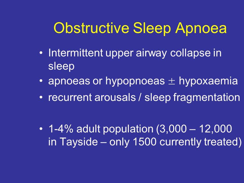 Obstructive Sleep Apnoea Intermittent upper airway collapse in sleep apnoeas or hypopnoeas ± hypoxaemia recurrent arousals / sleep fragmentation 1-4%