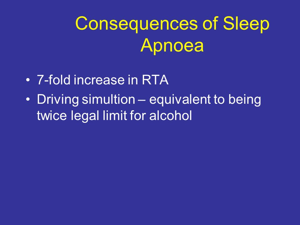 Consequences of Sleep Apnoea 7-fold increase in RTA Driving simultion – equivalent to being twice legal limit for alcohol