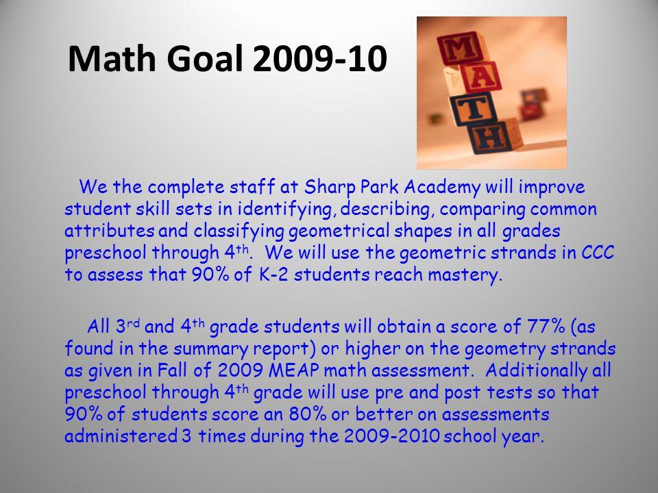 Ellen Seguin Jackson Public Schools Sharp Park Academy Math Goal Mid-Year Report 2009-2010