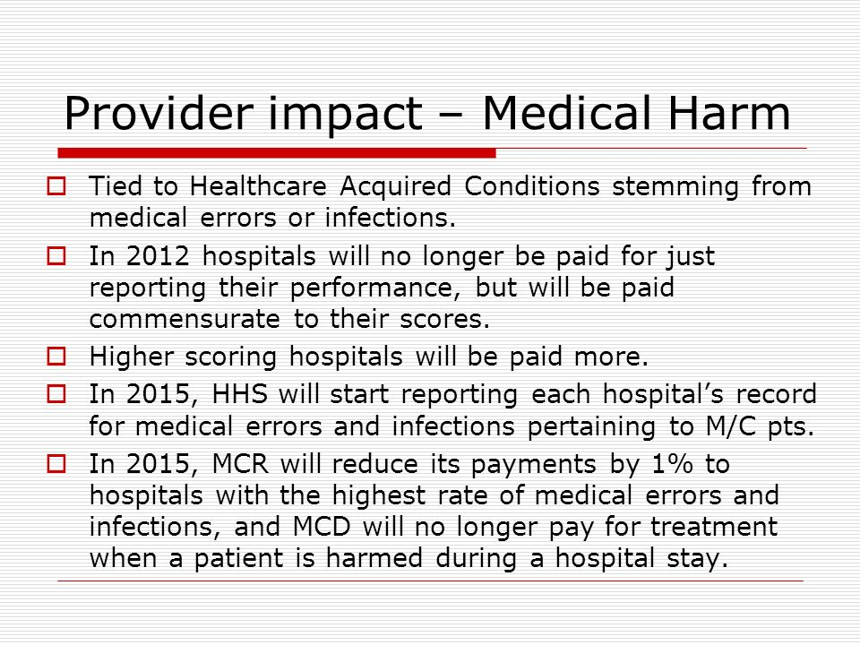 Provider impact – Medical Harm Tied to Healthcare Acquired Conditions stemming from medical errors or infections.
