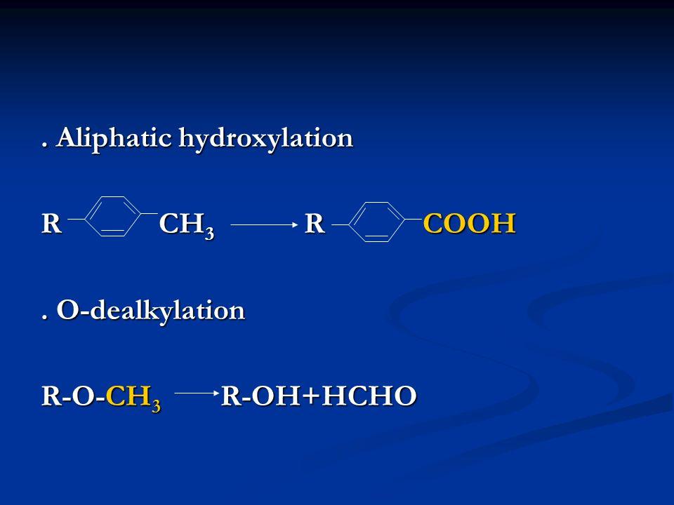 . Aliphatic hydroxylation R CH 3 R COOH. O-dealkylation R-O-CH 3 R-OH+HCHO