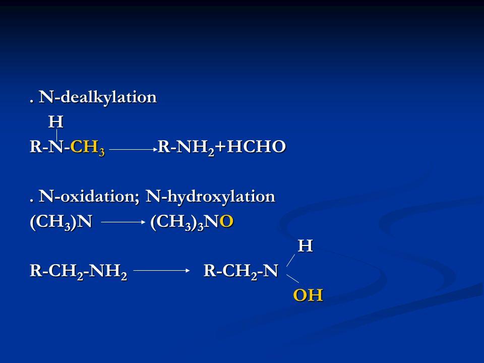 . N-dealkylation H R-N-CH 3 R-NH 2 +HCHO. N-oxidation; N-hydroxylation (CH 3 )N (CH 3 ) 3 NO H R-CH 2 -NH 2 R-CH 2 -N OH OH