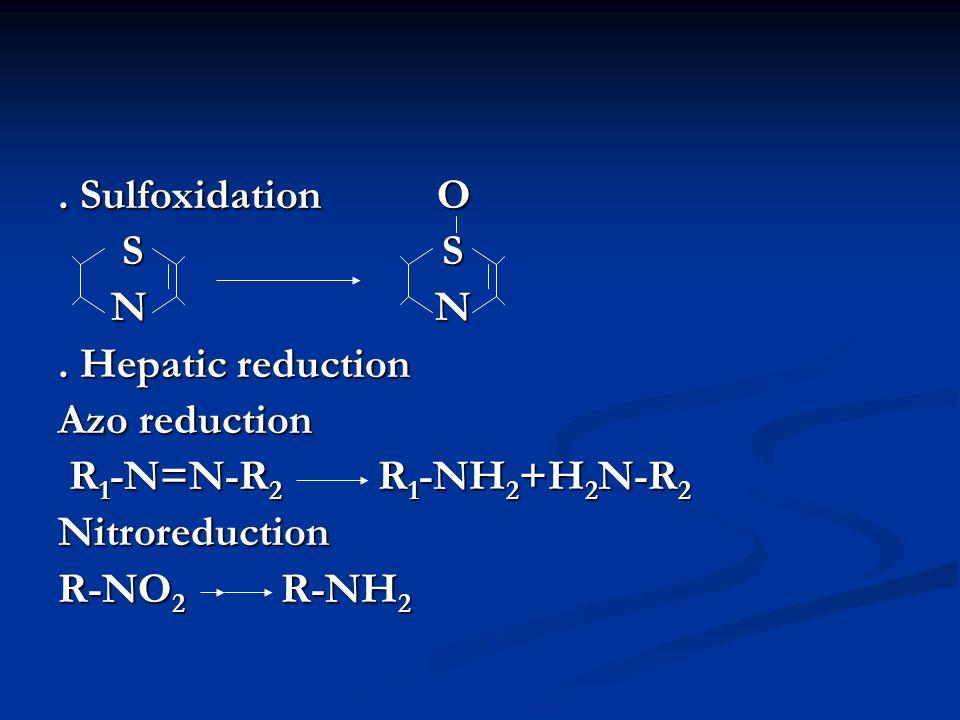 . Sulfoxidation O S S S S N N N N. Hepatic reduction Azo reduction R 1 -N=N-R 2 R 1 -NH 2 +H 2 N-R 2 R 1 -N=N-R 2 R 1 -NH 2 +H 2 N-R 2Nitroreduction R