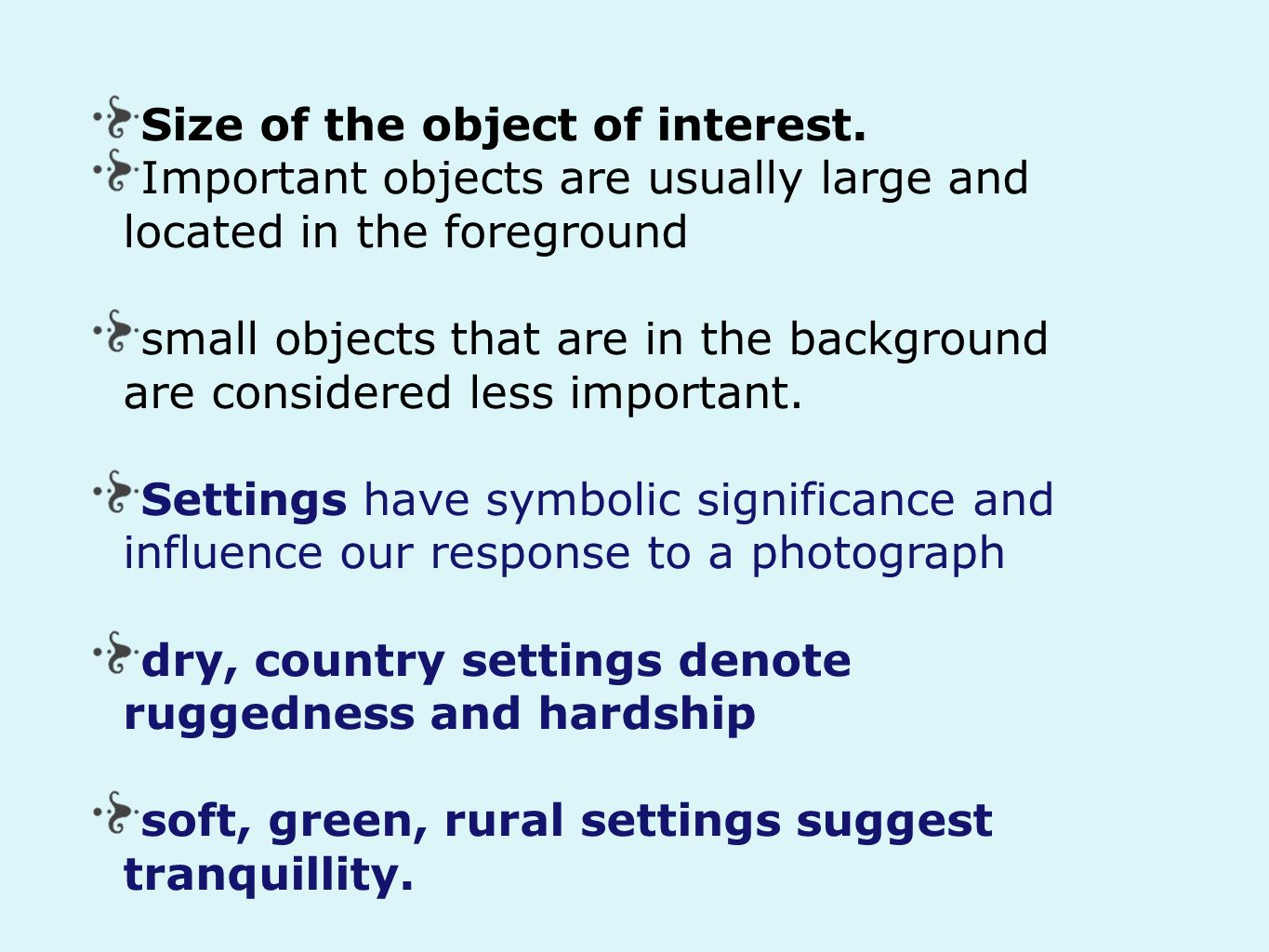 Size of the object of interest.