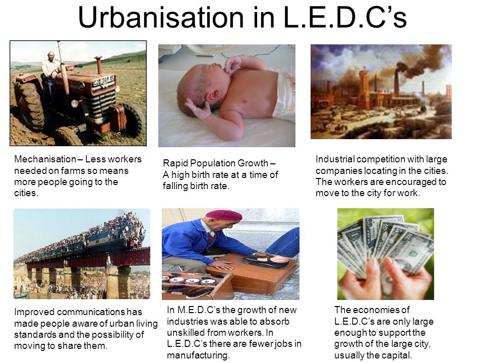 Urbanisation in L.E.D.Cs Mechanisation – Less workers needed on farms so means more people going to the cities. Rapid Population Growth – A high birth