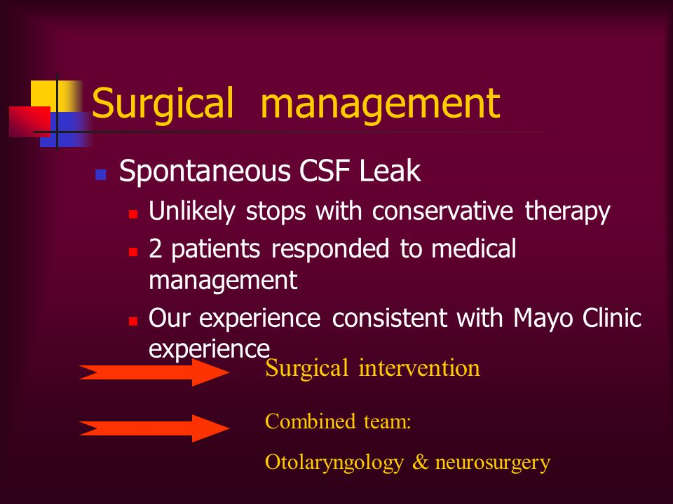 Surgical management Spontaneous CSF Leak Unlikely stops with conservative therapy 2 patients responded to medical management Our experience consistent