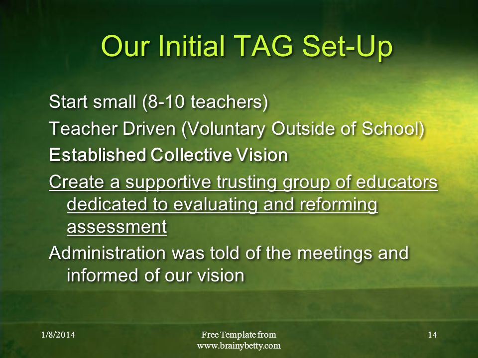 1/8/2014Free Template from www.brainybetty.com 14 Our Initial TAG Set-Up Start small (8-10 teachers) Teacher Driven (Voluntary Outside of School) Esta