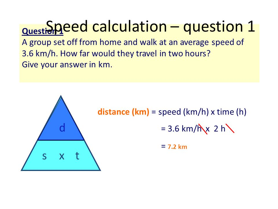= 3.6 km/h x 2 h distance (km) = speed (km/h) x time (h) Question 1 A group set off from home and walk at an average speed of 3.6 km/h. How far would