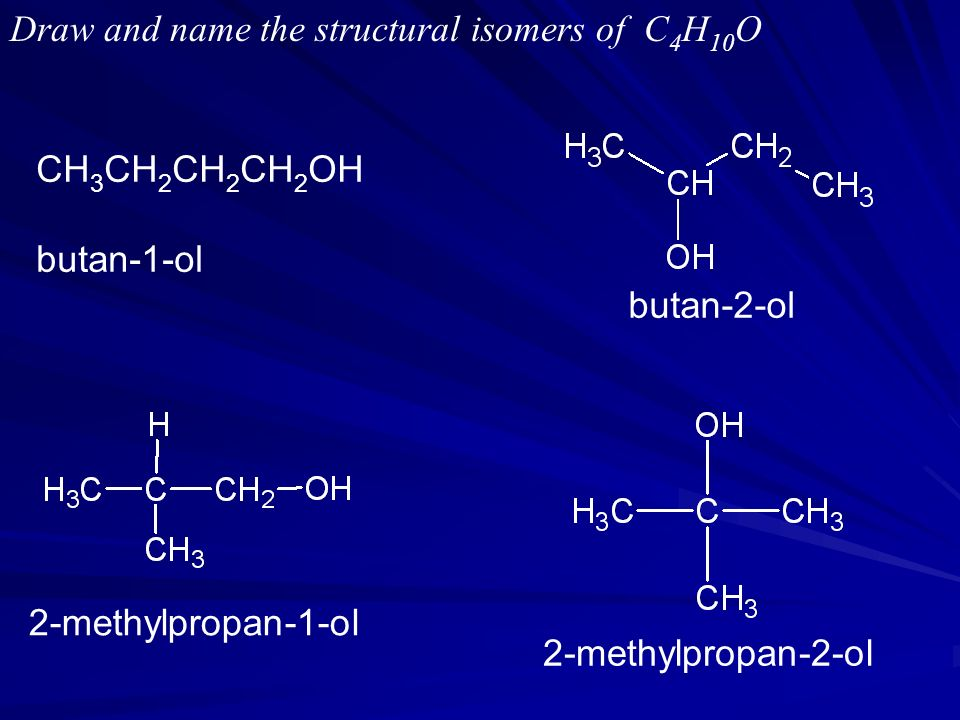 Draw and name the structural isomers of C 4 H 10 O CH 3 CH 2 CH 2 CH 2 OH butan-1-ol butan-2-ol 2-methylpropan-1-ol 2-methylpropan-2-ol