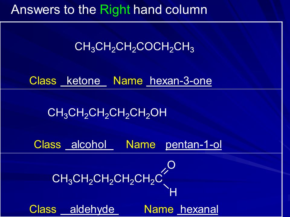 CH 3 CH 2 CH 2 COCH 2 CH 3 Class ketone Name hexan-3-one CH 3 CH 2 CH 2 CH 2 CH 2 OH Class alcohol Name pentan-1-ol Class aldehyde Name hexanal Answers to the Right hand column CH 3 CH 2 CH 2 CH 2 CH 2 C O H