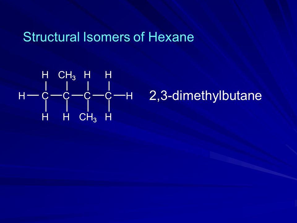 H CH H C H C H C H CH 3 H H Structural Isomers of Hexane 2,3-dimethylbutane