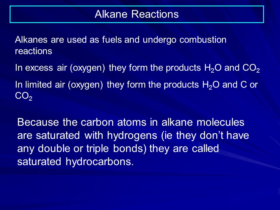 Alkane Reactions Alkanes are used as fuels and undergo combustion reactions In excess air (oxygen) they form the products H 2 O and CO 2 In limited air (oxygen) they form the products H 2 O and C or CO 2 Because the carbon atoms in alkane molecules are saturated with hydrogens (ie they dont have any double or triple bonds) they are called saturated hydrocarbons.