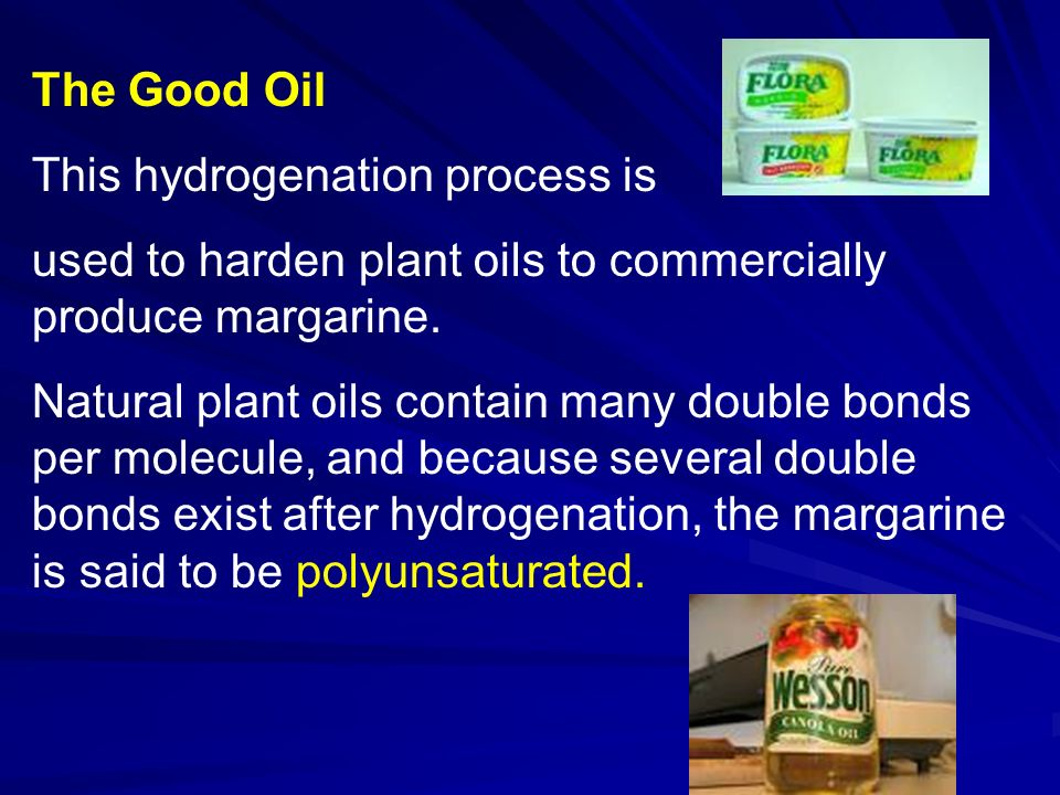 The Good Oil This hydrogenation process is used to harden plant oils to commercially produce margarine.