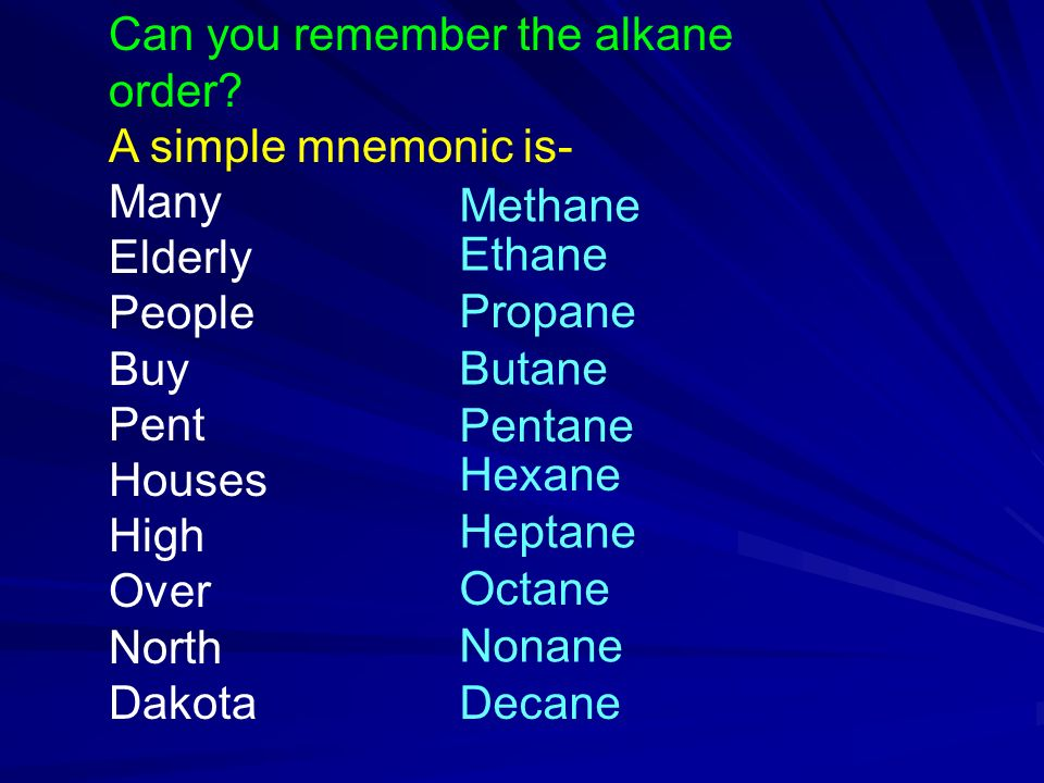 Can you remember the alkane order.