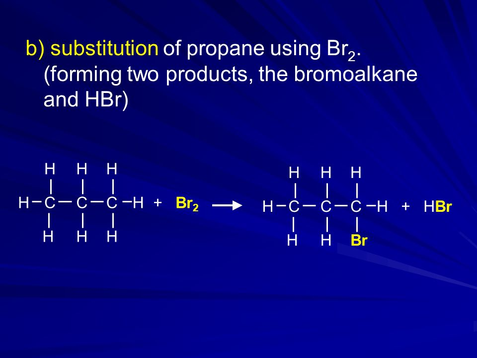 b) substitution of propane using Br 2.