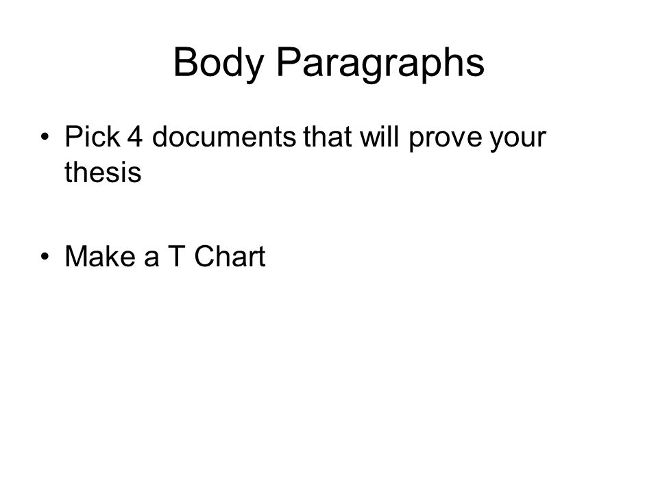 Body Paragraphs Pick 4 documents that will prove your thesis Make a T Chart