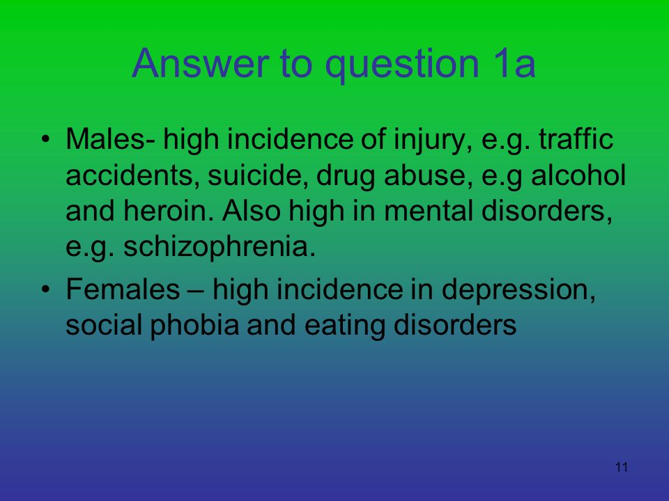 11 Answer to question 1a Males- high incidence of injury, e.g. traffic accidents, suicide, drug abuse, e.g alcohol and heroin. Also high in mental dis