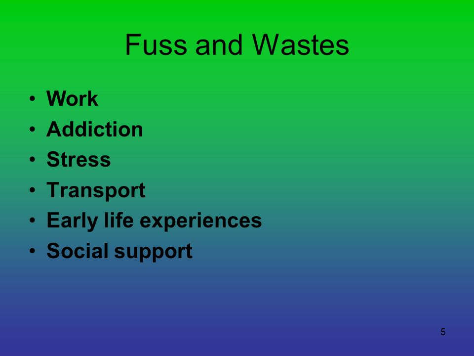Fuss and Wastes Work Addiction Stress Transport Early life experiences Social support 5