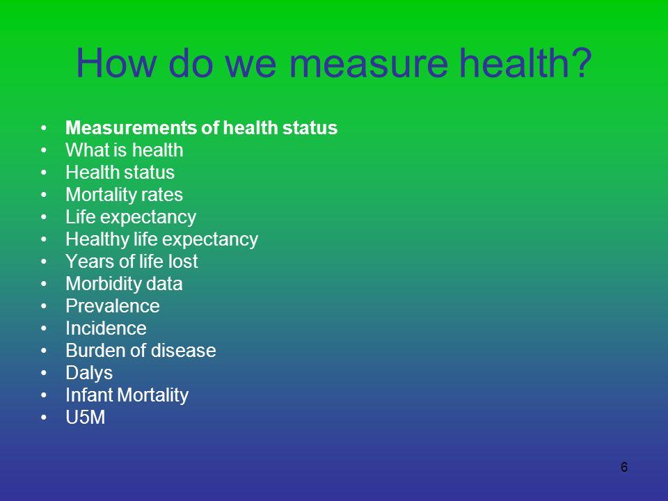 7 Health status – how do we measure health? Who definition