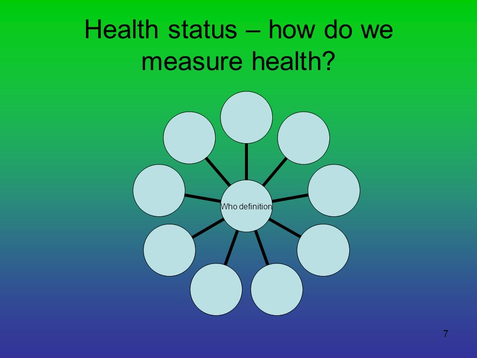 8 Definitions of health measurements Mortality rates Life expectancy Healthy life expectancy U5MYears of life lost Morbidity data prevalenceincidenceBurden of disease
