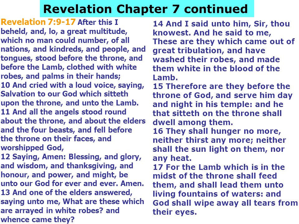 Revelation 7:9-17 After this I beheld, and, lo, a great multitude, which no man could number, of all nations, and kindreds, and people, and tongues, s