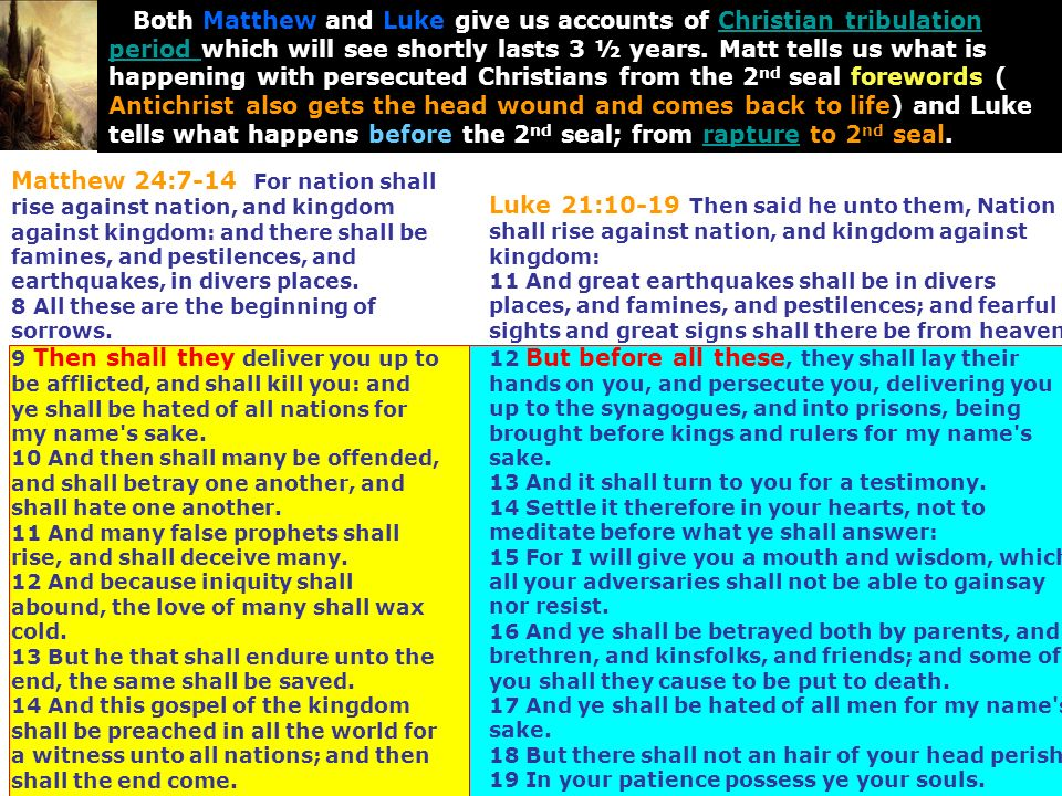 Matthew 24:7-14 For nation shall rise against nation, and kingdom against kingdom: and there shall be famines, and pestilences, and earthquakes, in di