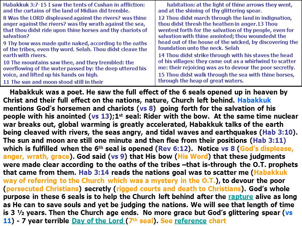 Habakkuk 3:7-15 I saw the tents of Cushan in affliction: and the curtains of the land of Midian did tremble. 8 Was the LORD displeased against the riv