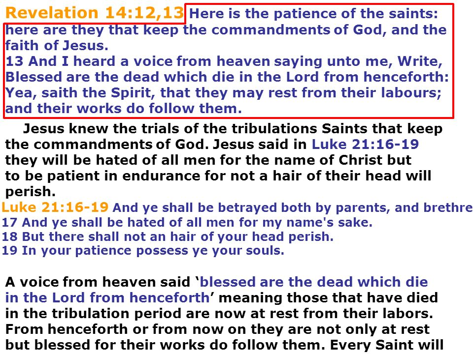 Revelation 14:12,13 Here is the patience of the saints: here are they that keep the commandments of God, and the faith of Jesus. 13 And I heard a voic