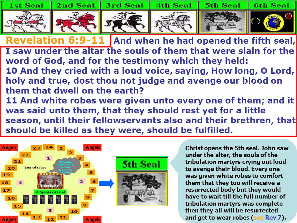 Revelation 6:9-11 And when he had opened the fifth seal, I saw under the altar the souls of them that were slain for the word of God, and for the test