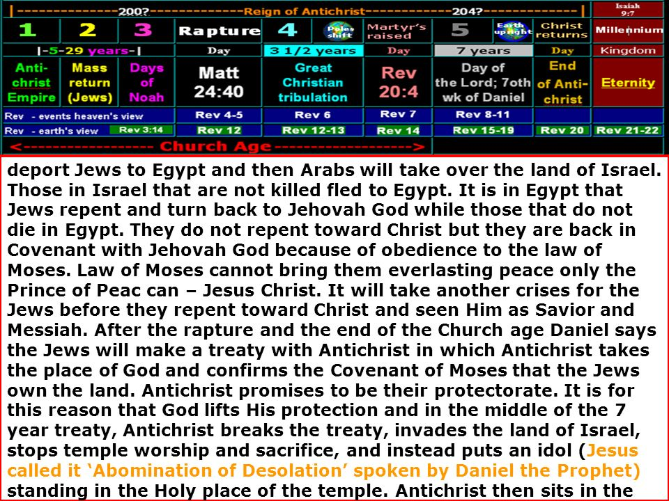 deport Jews to Egypt and then Arabs will take over the land of Israel. Those in Israel that are not killed fled to Egypt. It is in Egypt that Jews rep