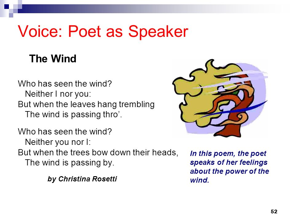 52 Voice: Poet as Speaker Who has seen the wind? Neither I nor you: But when the leaves hang trembling The wind is passing thro. Who has seen the wind