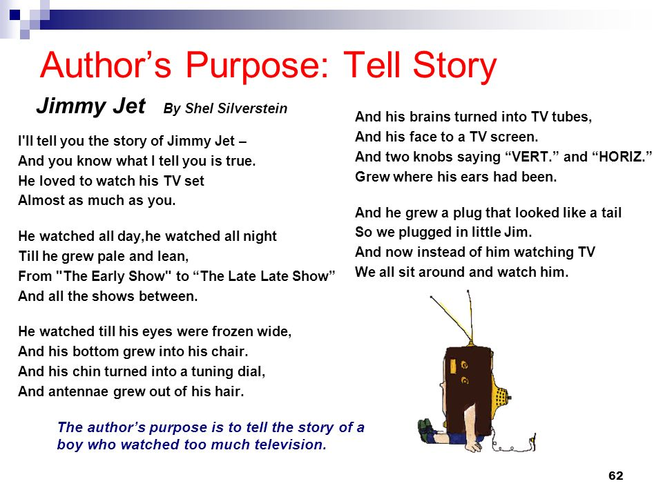62 Authors Purpose: Tell Story Jimmy Jet By Shel Silverstein I'll tell you the story of Jimmy Jet – And you know what I tell you is true. He loved to