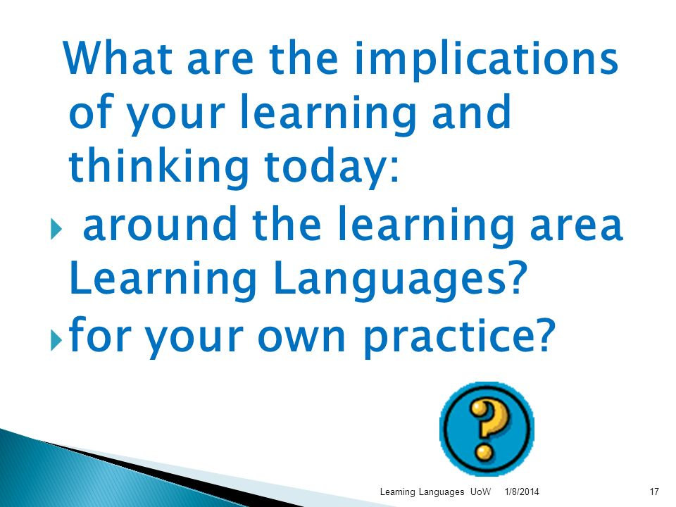 What are the implications of your learning and thinking today: around the learning area Learning Languages? for your own practice? 1/8/2014Learning La