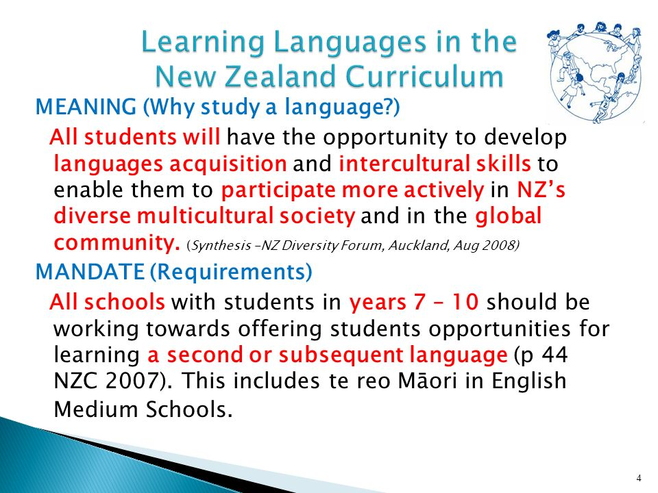 MEANING (Why study a language ) All students will have the opportunity to develop languages acquisition and intercultural skills to enable them to participate more actively in NZs diverse multicultural society and in the global community.
