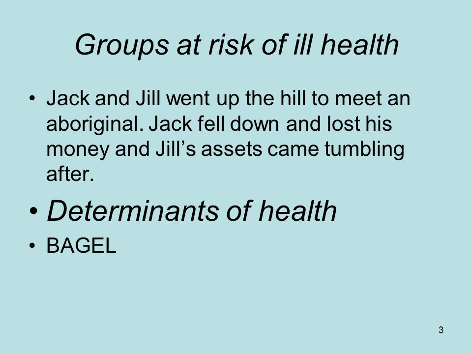 3 Groups at risk of ill health Jack and Jill went up the hill to meet an aboriginal.