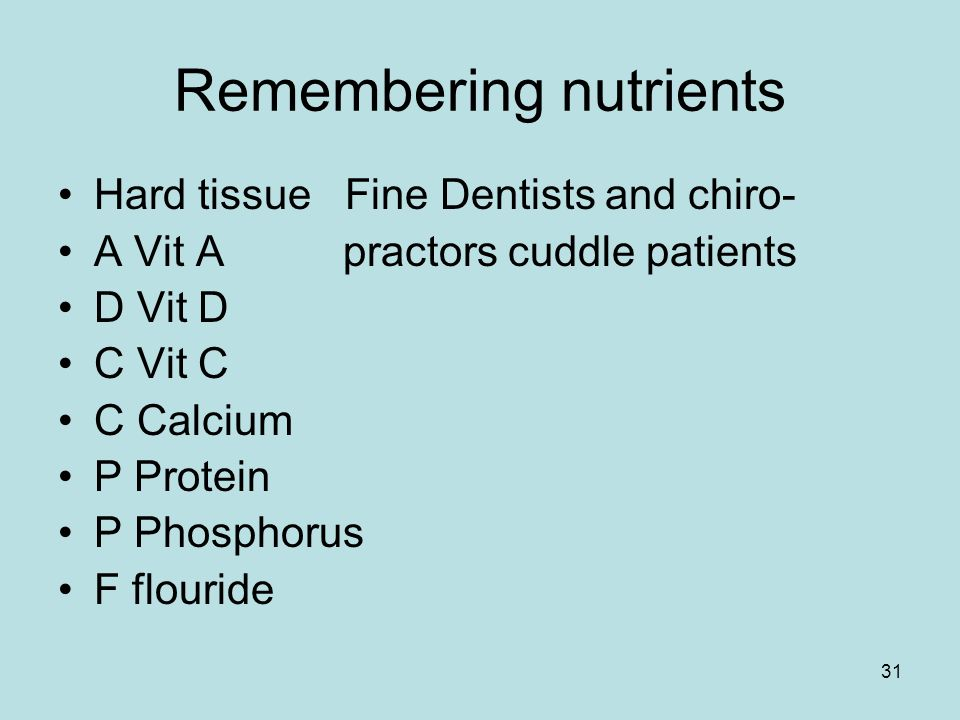 31 Remembering nutrients Hard tissue Fine Dentists and chiro- A Vit A practors cuddle patients D Vit D C Vit C C Calcium P Protein P Phosphorus F flouride