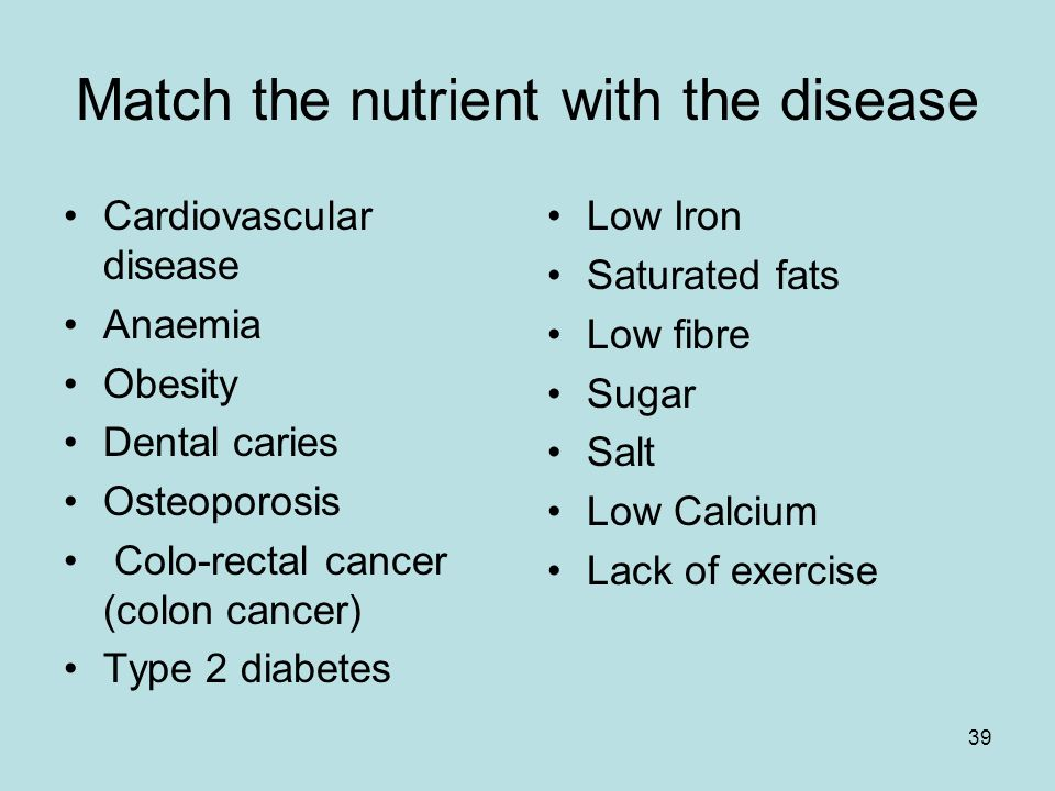 39 Match the nutrient with the disease Cardiovascular disease Anaemia Obesity Dental caries Osteoporosis Colo-rectal cancer (colon cancer) Type 2 diabetes Low Iron Saturated fats Low fibre Sugar Salt Low Calcium Lack of exercise