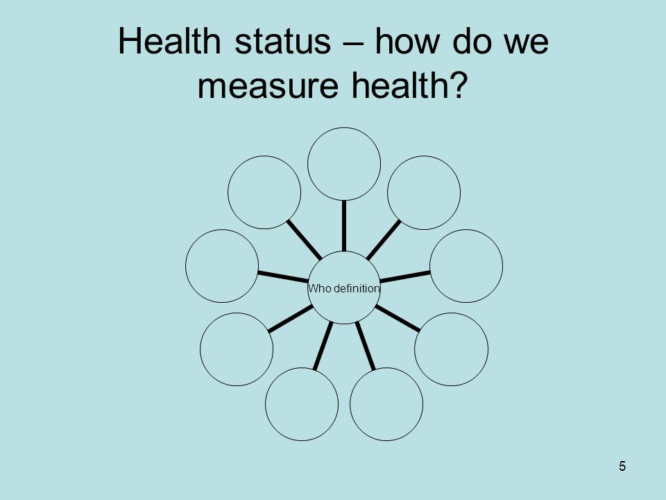 5 Health status – how do we measure health? Who definition