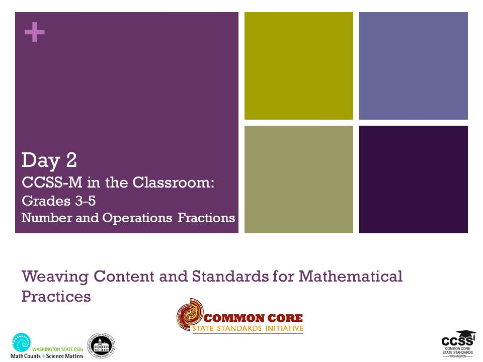 + Day 2 CCSS-M in the Classroom: Grades 3-5 Number and Operations Fractions Weaving Content and Standards for Mathematical Practices