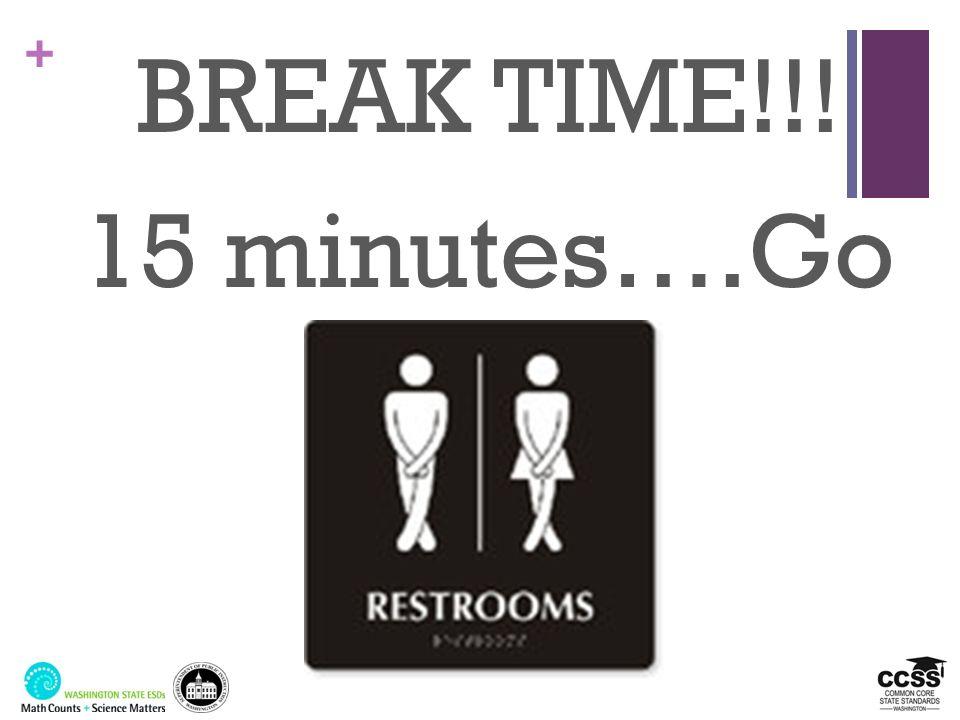 + BREAK TIME!!! 15 minutes….Go