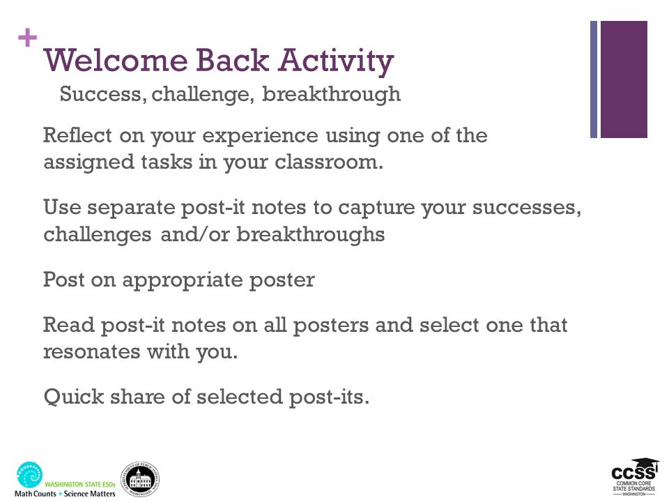 + Welcome Back Activity Success, challenge, breakthrough Reflect on your experience using one of the assigned tasks in your classroom. Use separate po