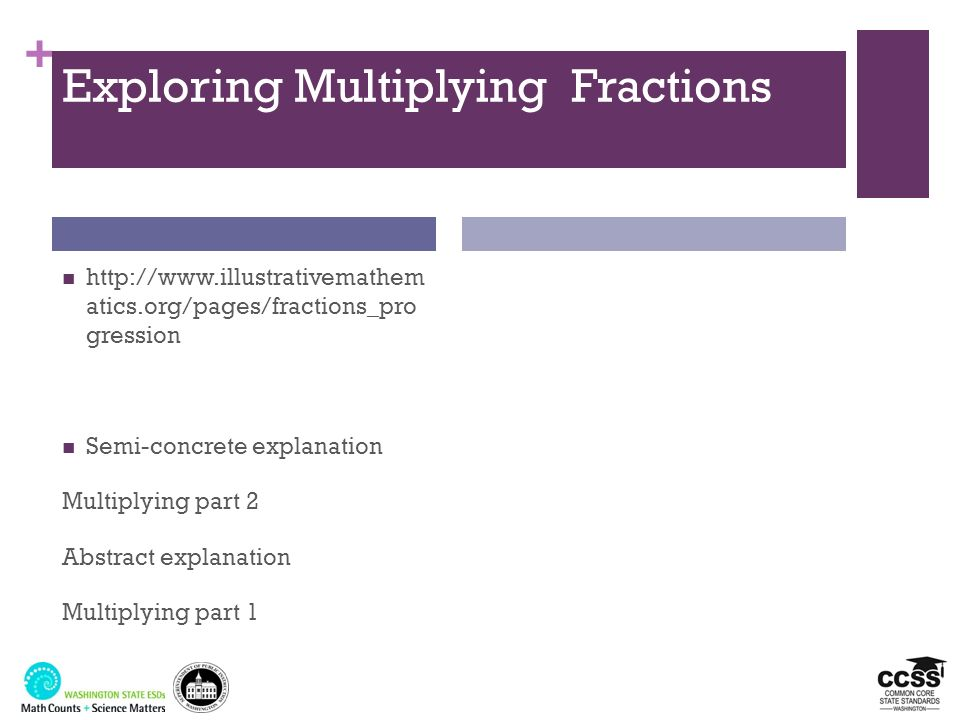 + Exploring Multiplying Fractions http://www.illustrativemathem atics.org/pages/fractions_pro gression Semi-concrete explanation Multiplying part 2 Ab