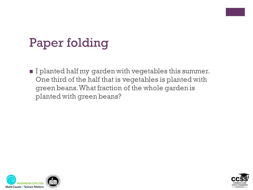 Paper folding I planted half my garden with vegetables this summer. One third of the half that is vegetables is planted with green beans. What fractio