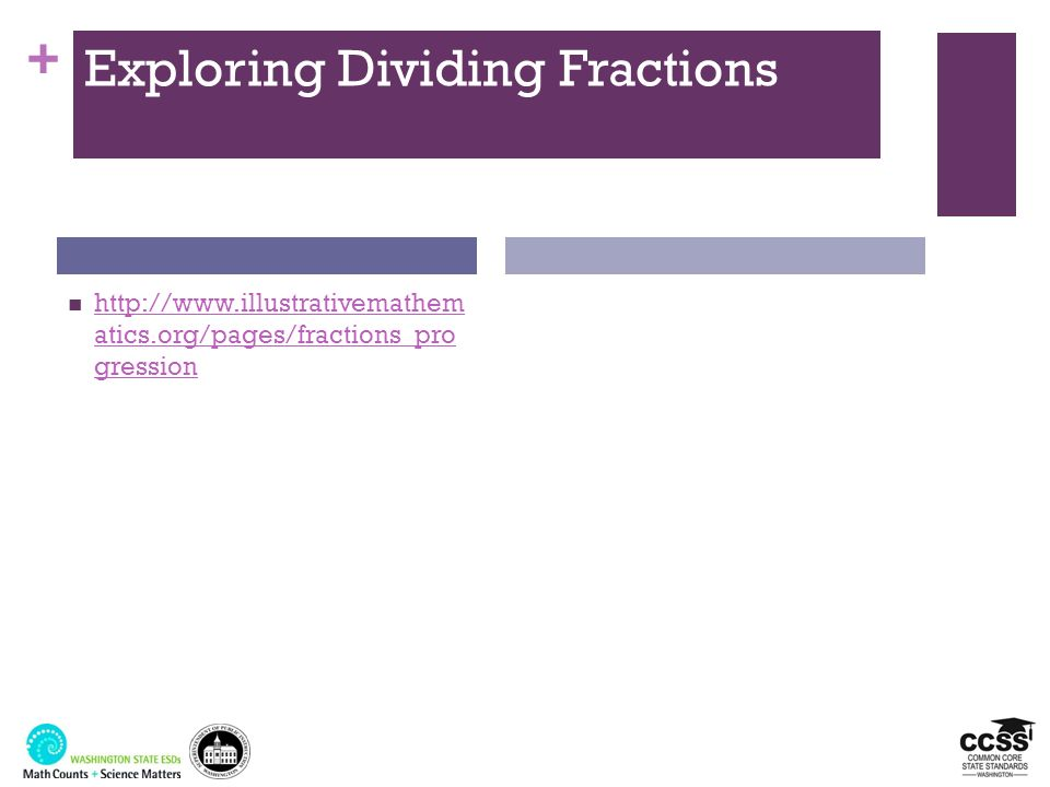 + Exploring Dividing Fractions http://www.illustrativemathem atics.org/pages/fractions_pro gression http://www.illustrativemathem atics.org/pages/frac