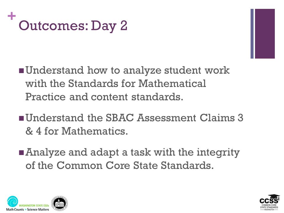 + Outcomes: Day 2 Understand how to analyze student work with the Standards for Mathematical Practice and content standards. Understand the SBAC Asses