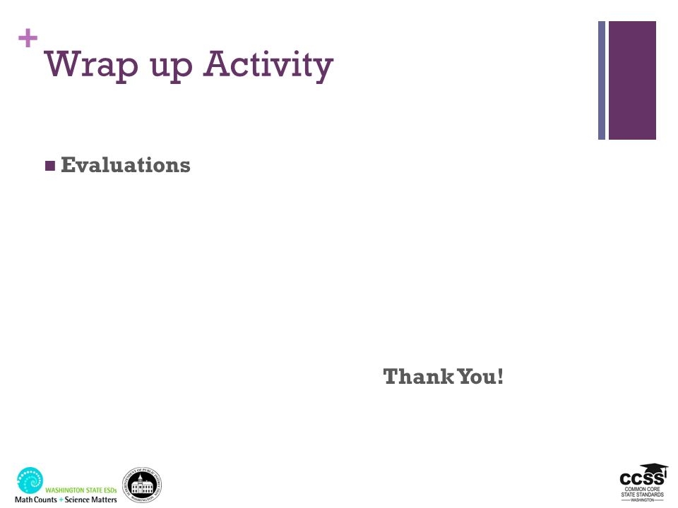 + Wrap up Activity Evaluations Thank You!
