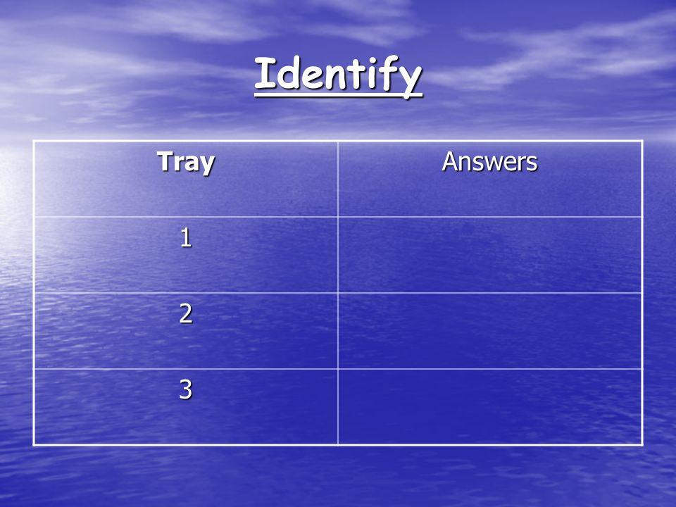 Identify TrayAnswers 1 2 3